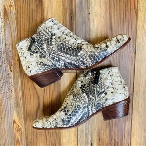 Sam Edelman Faux Snake Skin Ankle Boots Size 7.5